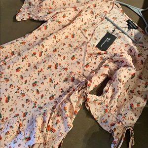 Wednesday's Girl wrap mini dress with tie sleeve